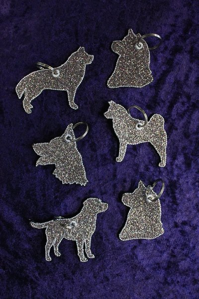 Glitter Dog Breed Keyrings Please state design  £  + P&P