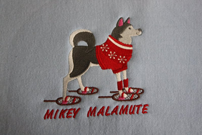 Mikey Malamute Design Embroidered item  Please ask for pricing