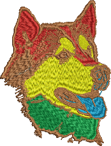 Coloured Malamute Head Design Embroidered item  Please ask for pricing