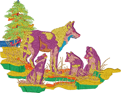 Wolf Family Design Embroidered item  Please ask for pricing
